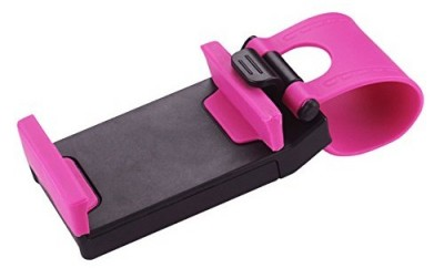 Reiko Car Steering Wheel Phone Mount - Retail Packaging - Hot Pink