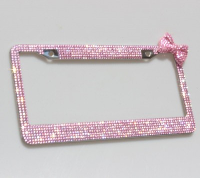 Stainless Steel License Plate Frame With Hot Pink Bow
